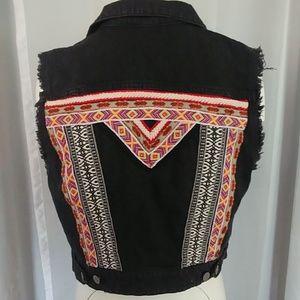 H&M Coachella black denim vest medium